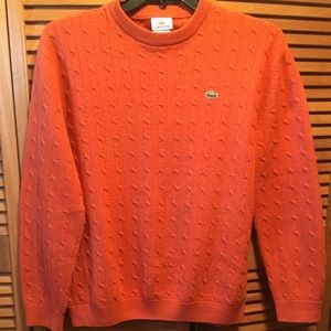 Lacoste Rust Cable-knit Crewneck Sweater